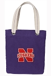 University of Nebraska Tote Bag RICH COTTON CANVAS Purple