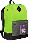 Northwestern University Backpack HI VISIBILITY Green Northwestern Wildcats CLASSIC STYLE