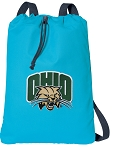 Ohio Bobcats Cotton Drawstring Bag Backpacks Blue