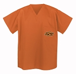 Oklahoma State University Cowboys Scrubs Top Orange Shirt-