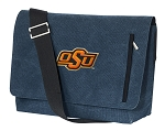 OSU Cowboys Messenger Bags STYLISH WASHED COTTON CANVAS Blue