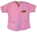 Oklahoma State University Cowboys Pink Scrubs Tops SHIRT