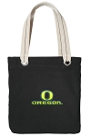 University of Oregon Tote Bag RICH COTTON CANVAS Black