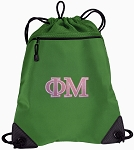 Phi Mu Drawstring Backpack Mesh and Microfiber