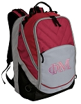 Phi Mu Sorority Deluxe Laptop Backpack Red