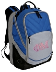 Phi Mu Sorority Deluxe Laptop Backpack Blue