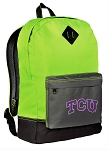 Texas Christian University Backpack HI VISIBILITY Green TCU CLASSIC STYLE