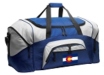 Colorado Flag Duffle Bag or Colorado Gym Bags Blue