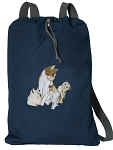 Cute Cats Cotton Drawstring Bag Backpacks RICH NAVY