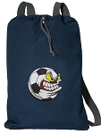 Soccer Fan Cotton Drawstring Bag Backpacks RICH NAVY
