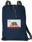 California Flag Cotton Drawstring Bag Backpacks RICH NAVY