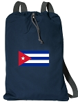 Cuba Drawstring Bag SOFT COTTON Cuban Flag Backpacks Navy