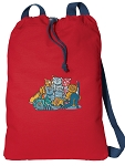 Crazy Cat Cotton Drawstring Bag Backpacks COOL RED
