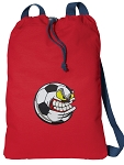 Soccer Fan Cotton Drawstring Bag Backpacks COOL RED
