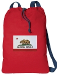 California Flag Cotton Drawstring Bag Backpacks COOL RED