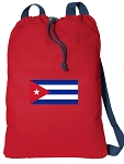 Cuba Drawstring Bag Cuban Flag Cinch Backpacks RED COTTON!