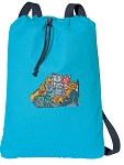 Crazy Cat Cotton Drawstring Bag Backpacks COOL BLUE