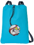 Baseball Cotton Drawstring Bag Backpacks COOL BLUE