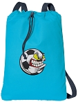 Soccer Fan Cotton Drawstring Bag Backpacks COOL BLUE