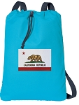 California Flag Cotton Drawstring Bag Backpacks COOL BLUE