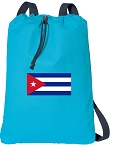 Cuba Drawstring Bag SOFT COTTON Cuban Flag Backpacks Aqua