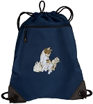 Cute Cats Drawstring Backpack-MESH & MICROFIBER Navy