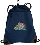 Crazy Cat Drawstring Backpack-MESH & MICROFIBER Navy