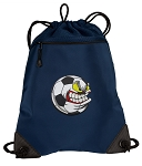 Soccer Fan Drawstring Backpack-MESH & MICROFIBER Navy