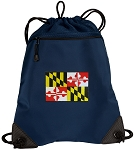 Maryland Drawstring Backpack-MESH & MICROFIBER Navy