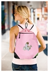 Cute Cats Drawstring Bag Mesh and Microfiber Pink