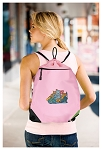 Crazy Cat Drawstring Bag Mesh and Microfiber Pink