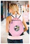 Soccer Fan Drawstring Bag Mesh and Microfiber Pink