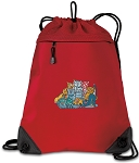 Crazy Cat Drawstring Backpack MESH & MICROFIBER Red