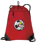 Soccer Fan Drawstring Backpack MESH & MICROFIBER Red