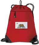 California Flag Drawstring Backpack MESH & MICROFIBER Red