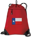 Texas Flag Drawstring Backpack MESH & MICROFIBER Red