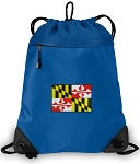 Maryland Drawstring Backpack MESH & MICROFIBER Blue