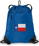 Texas Flag Drawstring Backpack MESH & MICROFIBER Blue