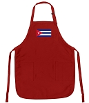 Deluxe Cuban Flag Apron Red
