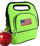 American Flag Lunch Bag 2 Section Lime
