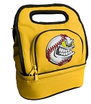 Baseball Lunch Bag 2 Section Gold