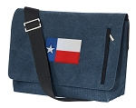 Texas Flag Messenger Bags STYLISH WASHED COTTON CANVAS Blue