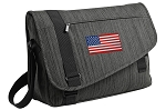 American Flag Messenger Laptop Bag Stylish Charcoal