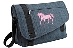 Cute Horse Messenger Laptop Bag Stylish Navy