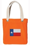 Texas Flag Tote Bag RICH COTTON CANVAS Orange