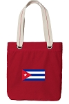 Cuban Flag Tote Bag RICH COTTON CANVAS Red