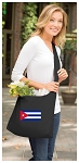 Cuba Tote Bag Sling Style Cuban Flag Shoulder Bag Black