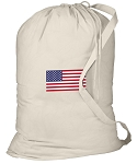 American Flag Laundry Bag White