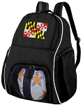 Maryland Flag Soccer Backpack or Maryland Volleyball Bag for Boys or Girls