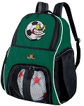 Soccer Fan Soccer Ball Backpack or Soccer Volleyball Bag Green for Boys or Girls